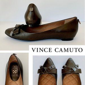 Vince Camuto bow tie dark brown flats